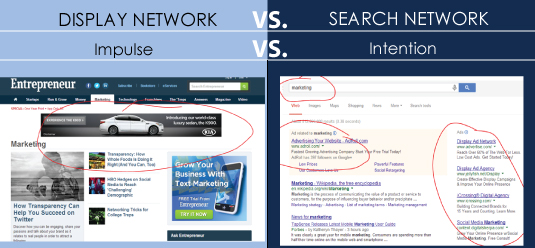 display vs search